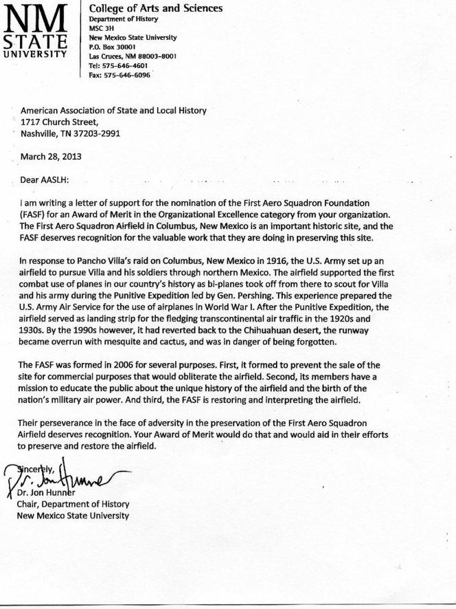 FASF NMSU Letter 002 Dr. Jon Hunner