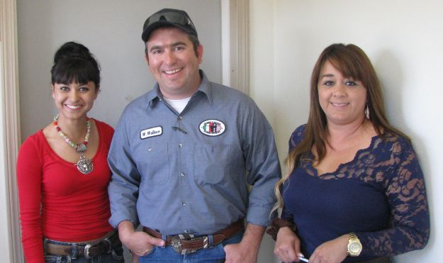 Alejandra Sanchez, Administrative Assistant, Bill Wallace, Columbus Stockyards Mgr. and Aidee Palacios, Livestock Broker 006