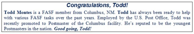 Todd Montes Congratulations!