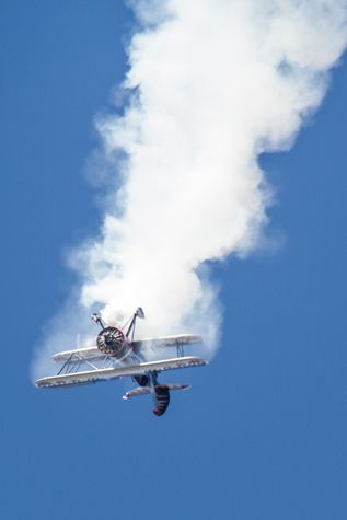 Kyle falling through his own smoke trail in a dangerous inverted spin maneuver.