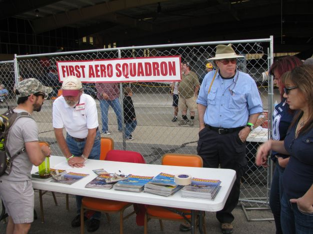 On left is FASF member and Trustee candidate, Roy Mantei, who has just helped set up the Info Table with Trustee Col. John Orton on right.