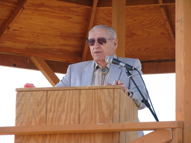 Richard Dean, President of the Columbus Historical Society, gave the main address to the crowd of attendees