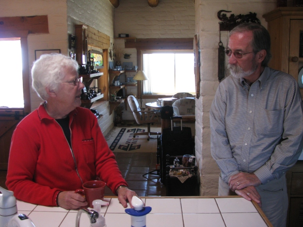 Betty Dean (L) chats with FASF VP, Roy Mantei in the Dean Kitchen