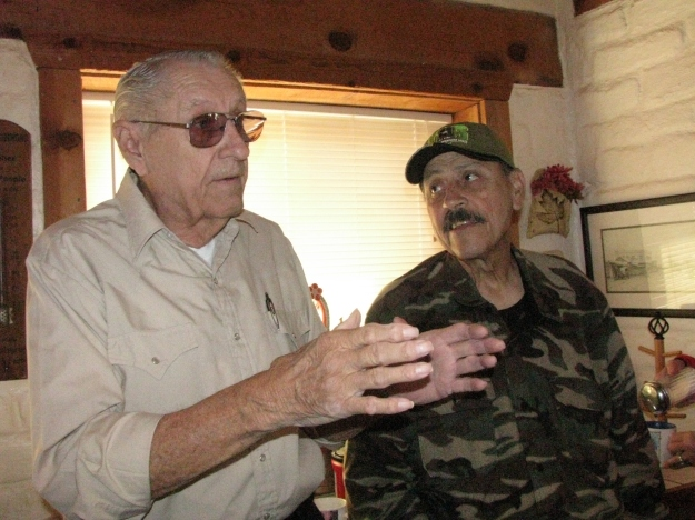 Richard Dean (L) discussing plans for the Centennial with Major Armendariz (R)