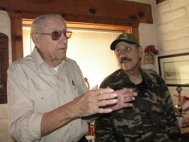 Richard Dean (L) discussing plans for the Centennial with Major Armendariz (R)