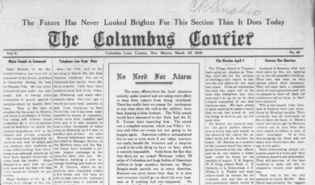 Copy from Columbus Currier's Front Page of 0324-1916 Notice re Raid