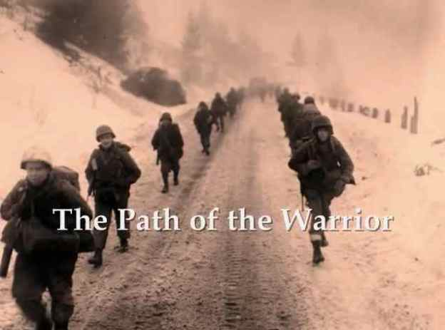 Photo From WWII in Europe with Title of 'The Path of the Warrior.'  Sponsored by the Humanity Healing Network.