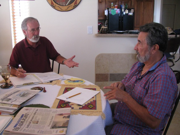 FASF VP (left above) and Archive Committee Chairman, Richard Orona at work.