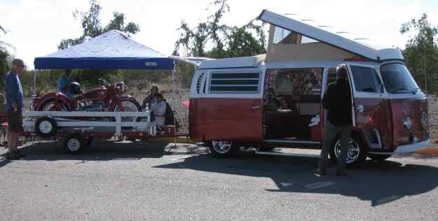 FASF member and car show contestant, Bob Wright's 1969 VW Camper Van and 1960 BMW motorcyle.