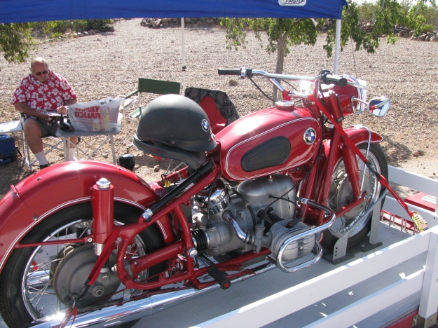 Close up view of Bob Wright's fully restored 1960's BMW motorcycle.