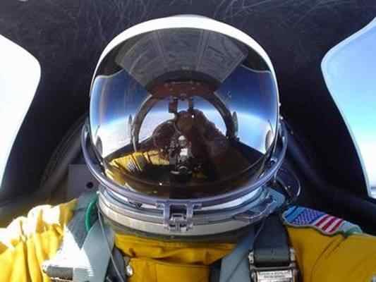 Cabi Cabigas aloft in U-2 in helmet 001