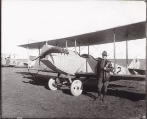 Captain Benny Foulois by his Jenny 1916