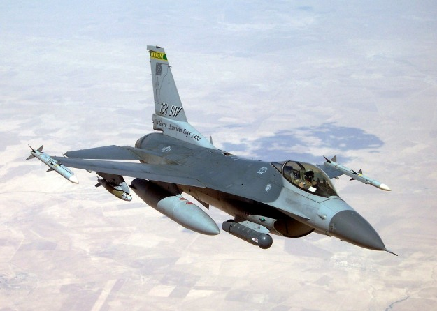 An F-16 from the Vermont Air National Guard's 158th Fighter Wing provides close air support to coalition forces supporting Operation Iraqi Freedom.  (U.S. Air Force Photo/Tech. Sgt. Thomas Ireland)