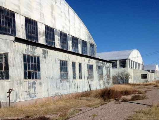 Present day appearance of the over 70 year old Deming Army Air Field Hangars.