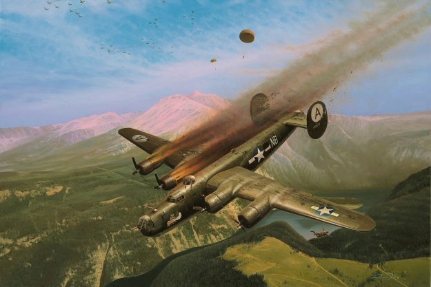 Painting depicting General Cardenas bailing out of his crippled B-24 Liberator Bomber in 1944 over Gemany.