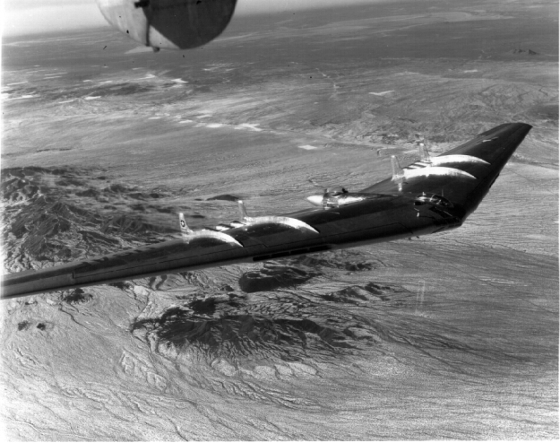 """Rare yet famous """"Flying Wing"""" experimental aircraft in which General Cardenas was a test pilot. The aircraft was abandoned when it proved too dangerous. It had killed several top caliber Test Pilots before its testing was stopped."""