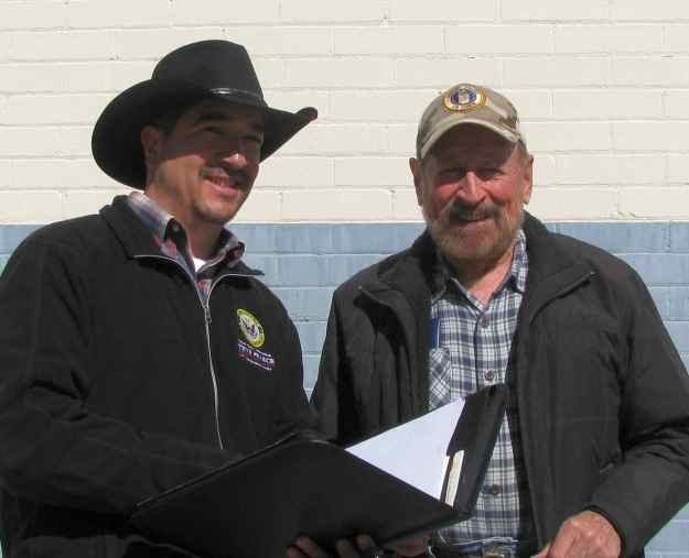 Peter Ibarbo, Outreach Director for U. S. Congressman Steve Pearce's Office, on left, seen meeting with FASF President, Ric Lambart, on the right in photo above. The men discussed upcoming plans for the Centennial of the Birth of American Air Power, which will be celebrated in Columbus, NM on Saturday, March 12, 2016.