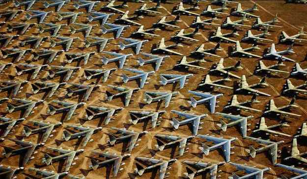 "Narrow airial view of world's largest military aircraft ""boneyard"" at Davis Monthan Air Force Base in South part of picturesque Tucson, AZ."