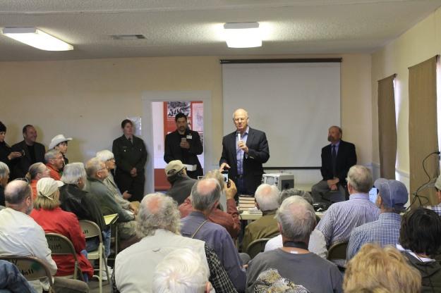 Congressman Pearce addresses audience . . .