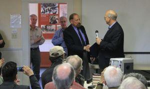 FASF President Ric Lambart thanks Congressman Pearce for the Memorial Flag