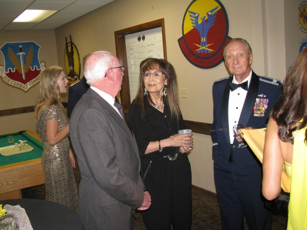 Above L to R: Daedalian Virg Hemphill, Mrs. Julie Pitt and Colonel Bob Pitt.