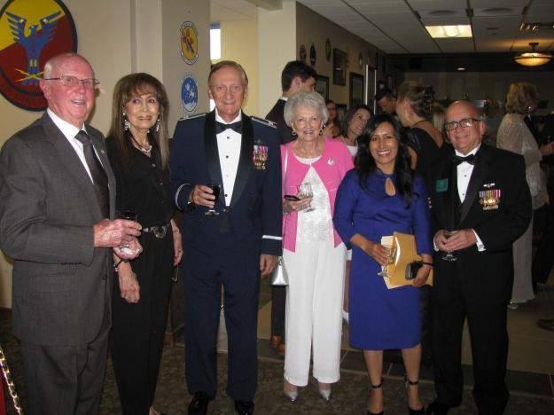 Above L to R: Virg Hemphill, Mrs. Julie Pitt, Col. Bob Pitt, Mrs. Jenine Hemphill, Olivia Callahan and Roger Nichols.