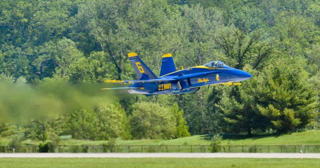 Captain Kuss in low level fly-by during practice for an air show