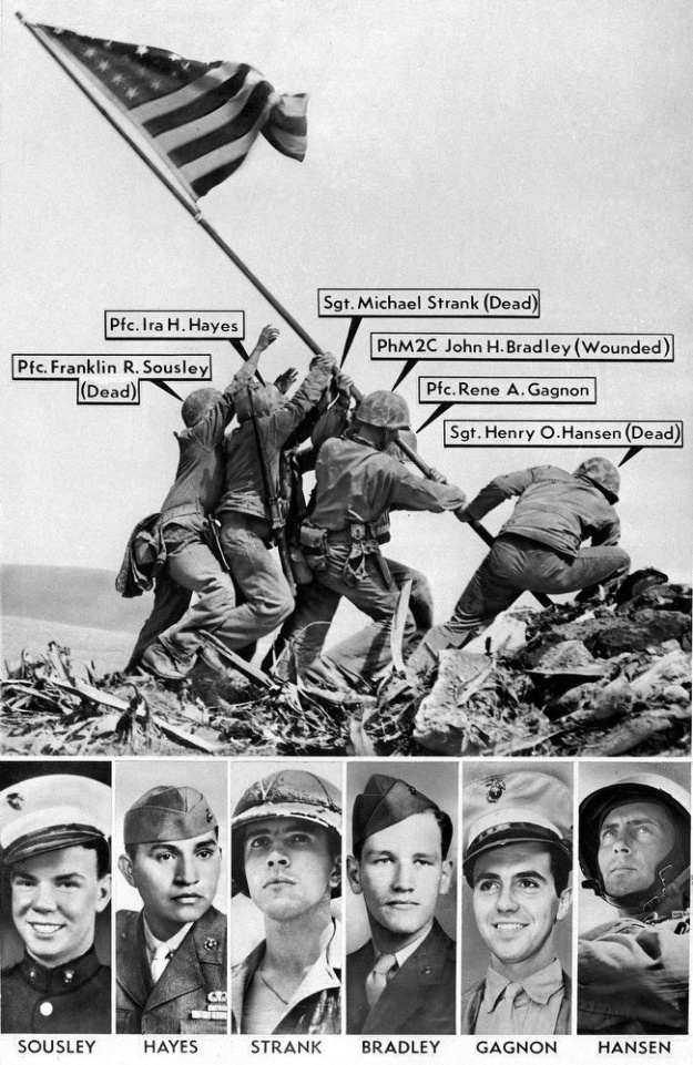 Famous Rosenthal photo (with hero's names), of the victorious raising of the Flag on Mount Siribachi, Iwo Jima