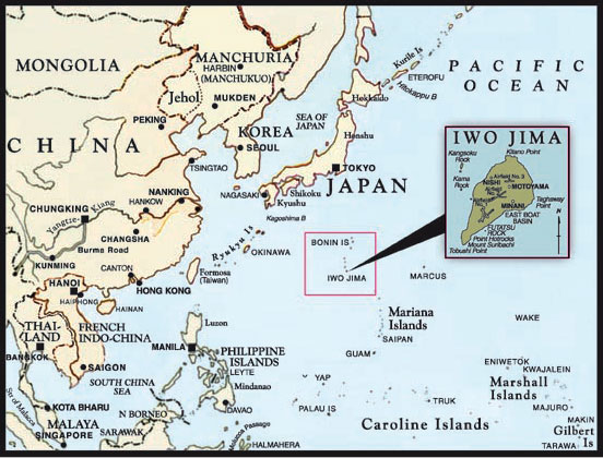 Map showing location of Iwo Jima in relationship to Japan