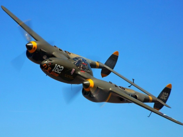 P-38 In Flight Without Wartime Paint