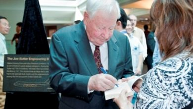 "Joe Sutter Autographs his book, ""747: Creating the World's First Jumbo Jet and Other Adventures from a Life in Aviation"""