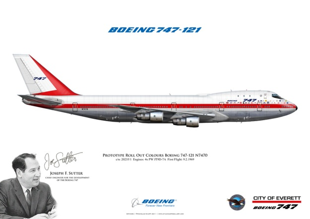 Roll out of Boeing's first Jumbo Jet, the 747-121, is presented in this poster, along with its creator, Joe Sutten.