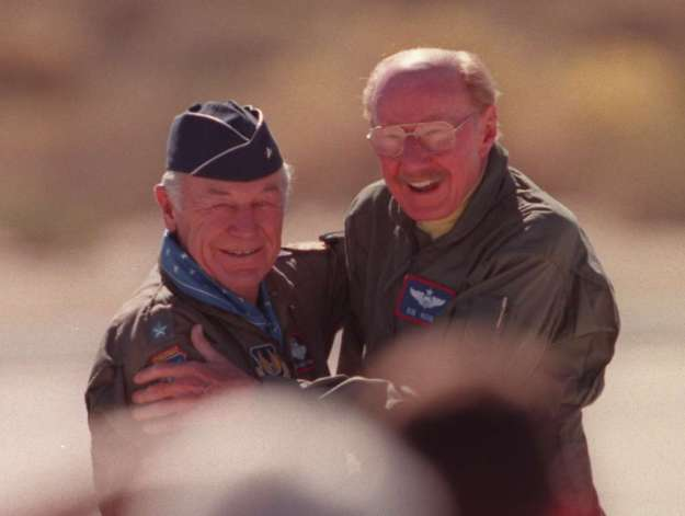 Old Air Force buddies - Both World Class Test Pilots: Chuck Yeager on Left and Bob Hoover on Right