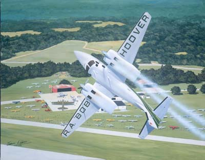 Photo of Bob during his exteme Air Show Aerobatics in his Aero Commander Executive Twin