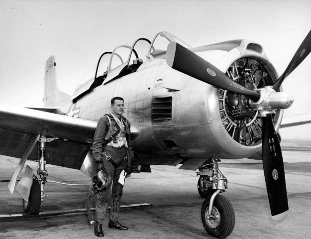 Bob by North American Aviation's T-28 - a plane your Webmaster Flew during USAF Training