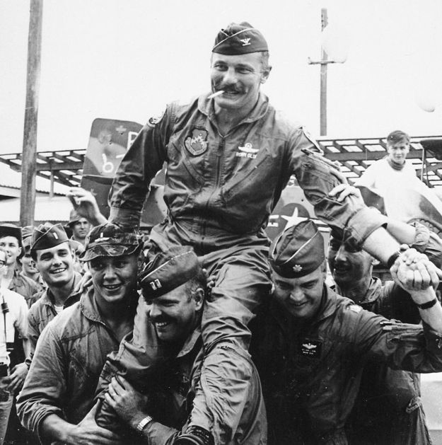 Colonel Robin Olds returning from his final air combat mission in Vietnam