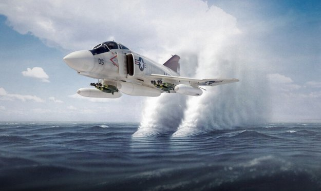 USN Phantom chruns ocean with the shock waves from its high speed low pass