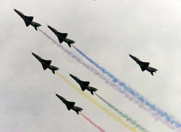 PLA Air Force J-10 Flying in Formation during Air Show