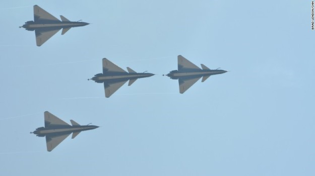 Chinese PLA Air Force J-10 Fighters in formation