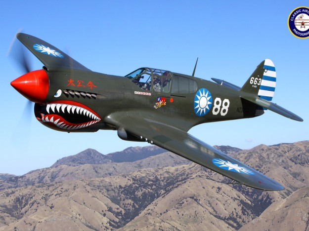 A fully restored P-40 Warhawk in authentic Flying Tiger's Paint Scheme.