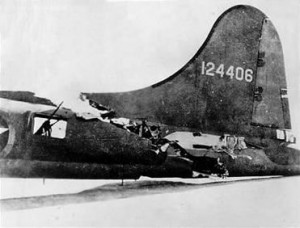 One of most famous B-17 damage photos from WWII where its tail miraculously stay put . . .