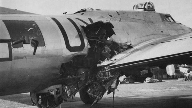 B-17 with major flak hit over Germany in 1944