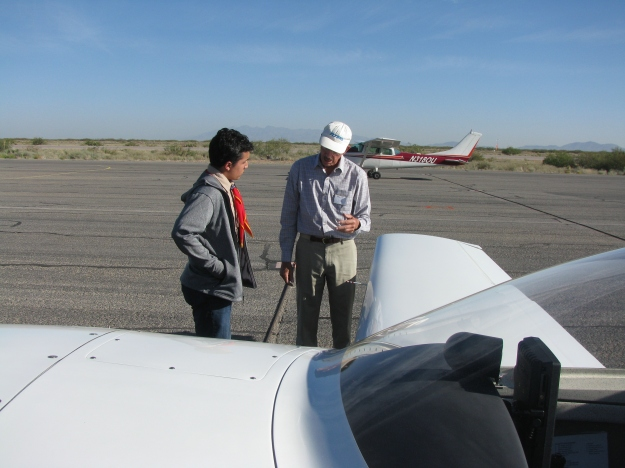 Chapter 1570 President, John Keithly explaining his airplane and its parts to his next Young Eagle student.