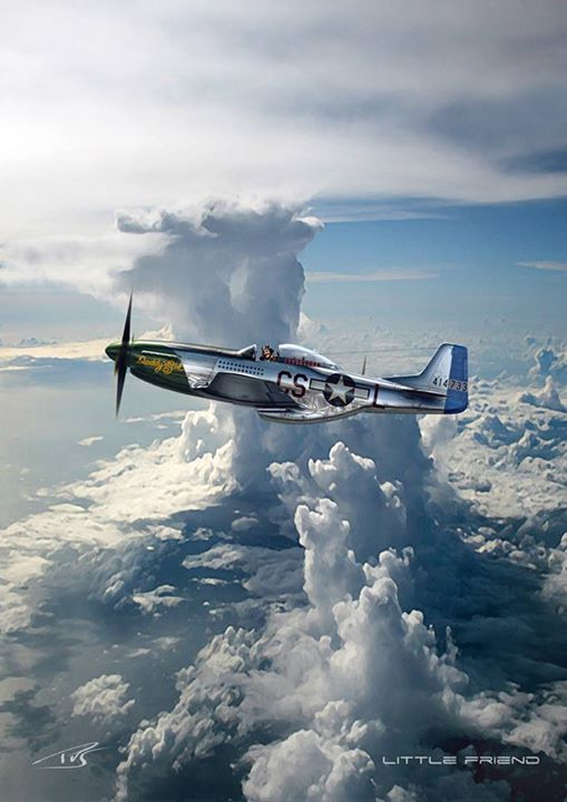 Almost Spiritual Depiction of Mustang Above the Pacific and Clouds, the Pilot with Open Canopy to Savor the Airman's Majestic View from on High